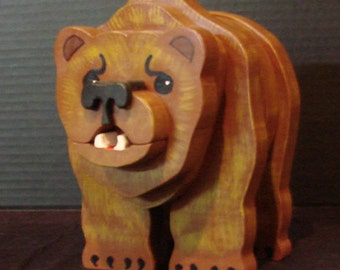 Layered Wooden Grizzly Bear