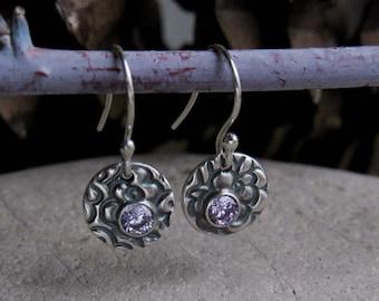 Artisan Silver Dangles, Lavender Earrings, Oxidized Silver Patterned Earrings, Dainty Everyday Earrings,Hypoallergenic Lightweight Earrings