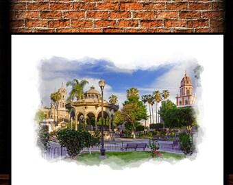 Tlaquepaque Dowtown,Watercolor,Instant Download,                          Mexico,Wall Decor,Printable Art,Canvas Print,Mexico Posters