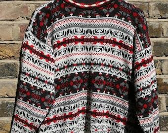 Vintage 1980s oversized knit jumper red black white