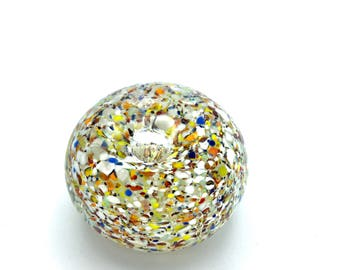 Multicolored Spattered or mottled-ground Paperweight Art Glass with Controlled Center Bubble aka Bullicante-Style