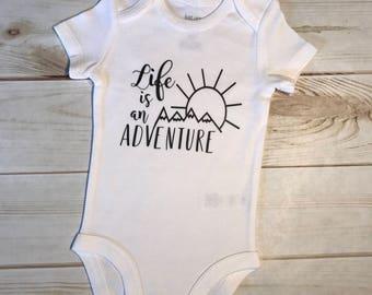 Mountain Adventure Bodysuit,Baby boy girl bodysuit,unisex neutral creeper,outdoors mountain hills peak,sun sunny one piece,black white set