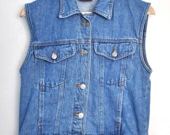 Vintage denim vest, 90s denim vest, blue denim button up vest, hipster vest