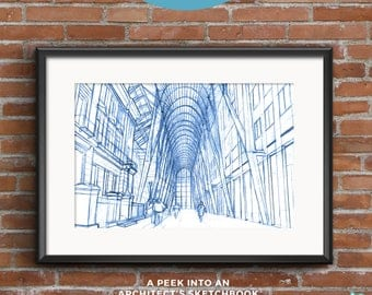 Brookfield Place | Blueprints | Hand-drawn  sketch of an architectural icon