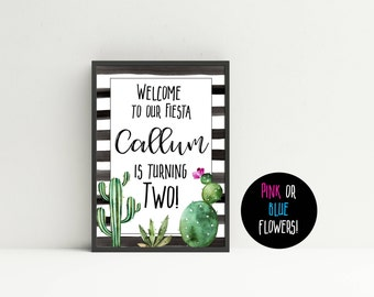 Cactus Welcome Sign, Fiesta Birthday Sign, Cactus Birthday Decorations, Fiesta Birthday Decorations, Printable Cactus Sign, Cactus Party