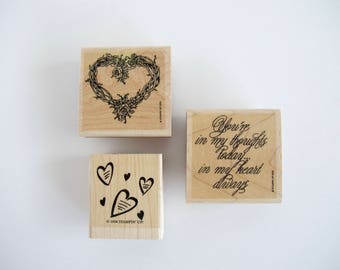 Vintage Wood Stamps Heart Stamps Wooden Stamp Set