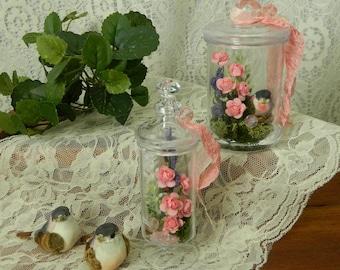 Bird Nest Decoration, Set of 2, Fairy Garden, Pink Roses, Spring,Flower,Floral,  Arrangement, Decoration, Shabby Chic, Apothecary, Terrarium