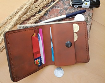 Bifold  wallet Bifold card holder Coin purse Mens wallet Leather wallet hand made wallet  mens leather wallet  father gift dad gifts