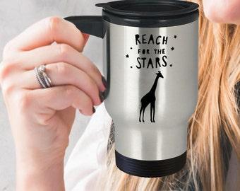 Giraffe Travel Mug, Reach For The Stars, Giraffe Coffee Mug, Unique Giraffe Gifts, Giraffe Gifts For Women, Gifts For Giraffe Lovers