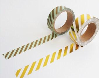 Gold Foil Stripe Washi Tape 10m, planner supplies, diagonal stripe washi tape, scrabooking tape, journal planner accessories, gold foil tape