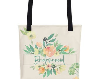 Bridesmaid Totes | Bridesmaid Tote Gift | Bridesmaids Tote Bag | Bridesmaid Thank You Gift | Floral Bridesmaid Tote | Custom Bridal Tote