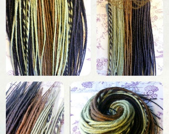 32 double Dreads synthetic 50cm - Dreadlocks - chocolate, honey and chestnut. Dreadovore