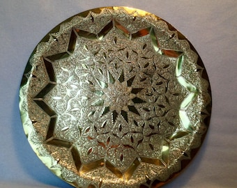 Moroccan engraved brass round tray