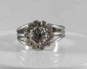 Silver Tone Clear Cz Flower Ring Size 8 8.25 8.5 Adjustable