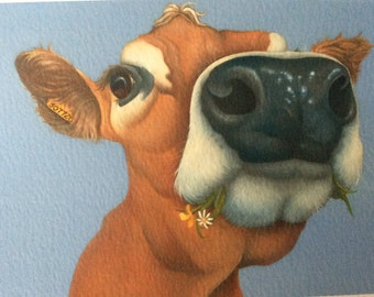 "jersey cow painting ""Bizzie Lizzie"""