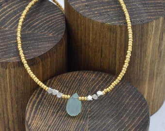 "Aqua Blue Quartz Briolette Necklace 16"""
