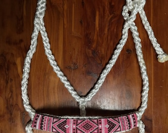 Beaded Mule Tape Halter-Pink/Brown