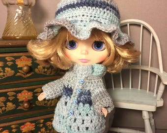 "Sweet ""Variegated Blues"" Blythe Sweater and matching Bonnett"