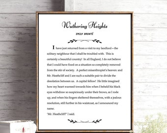 Wuthering Heights Print, Emily Bronte Quote, Bookish Wall Art, Bibliophile Home Decor, Art Print for Book Lover, Literary Poster, Art Print