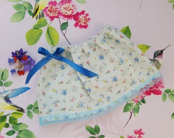 Summer Skirt, Vintage Flower Print Skirt, Girls Fashion, Baby Clothing, Blue Skirt, Baby Skirt, Floral Skirt, Cotton, Elasticated, Bow, Lace