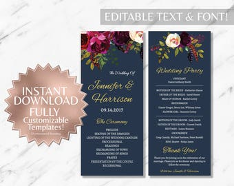 Floral Marsala Wedding Program Template