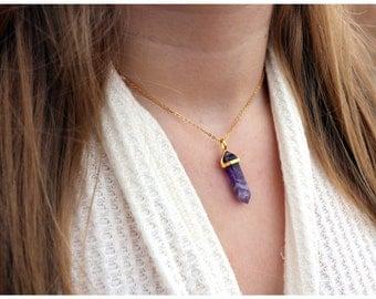 AMETHYST CRYSTAL NECKLACE: Amethyst Pendant Necklace, Amethyst Gemstone Necklace, Amethyst Healing Crystal Necklace, Amethyst Choker Jewelry