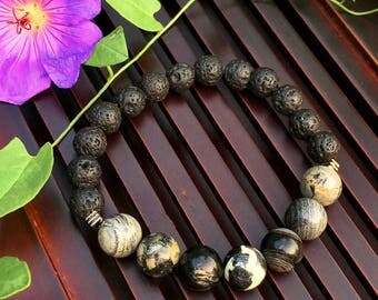 10mm Black Silver Leaf Jasper / Lava stone Yoga Mala Beaded Bracelet. Healing Natural Gemstone Bracelet. Protection Mala Bracelet.