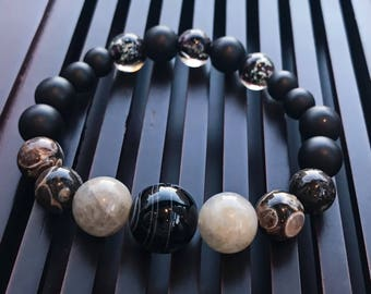 Black Stripe Onyx/Labradorite/Turritella Agate/Matte Black Onyx/Lampwork Glow in the Dark Yoga Mala Bracelet. Healing Natural Gemstone.