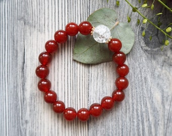 Carnelian Bracelet Red Bracelet Beaded bracelet Relax Happy Freedom Womens Mens Gift