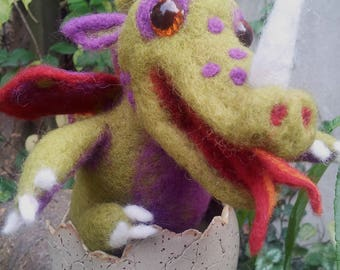 "Felt ""Dragomir"" Dragon in the ceramic egg"