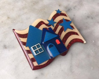 Vintage Flag House Pin Handmade by Lucinda Yates // 3D Brooch Glossy Enamel // Patriotic USA Red White Blue American Stars + Stripes Banner