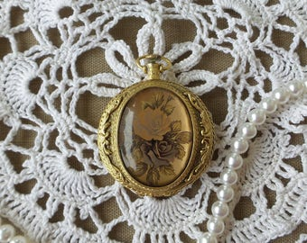 Vintage Max Factor Pocket Watch Compact with Roses