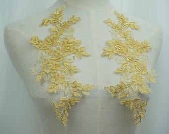 Gold Lace applique, Vintage Style Alencon Applique Lace For bridal sash, veils, headpiece, DIY wedding, Lace Garter, One Pair, TH027