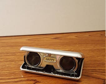 1960's Happy Folding and Adjustable Opera Glasses, Compact Binoculars, Made in Japan, Spy Gadget