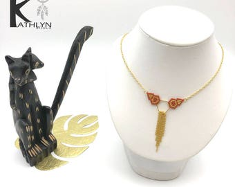 MAYA necklace brown caramel and gold