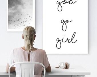 Go girl poster, motivational poster, inspirational poster, poster for girls, girls motivation, girl room decor, girl room wall art, girl art