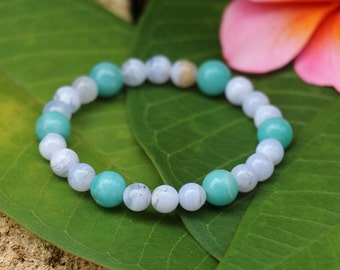 No. 31 Blue Lace Agate and Amazonite Beaded Bracelet