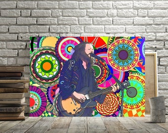 My Morning Jacket, Jim James Poster, Rock Music Print or Canvas, Psychedelic Art, Cool Folk Music Gift, Evil Urges, One Big Holiday,Rock Art