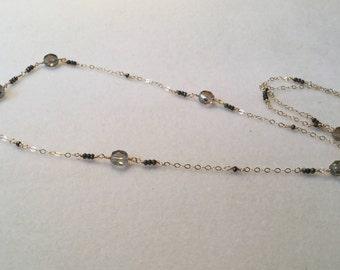 Czech bead and pyrite gemstone necklace, Czech bead and pyrite necklace, long beaded necklace