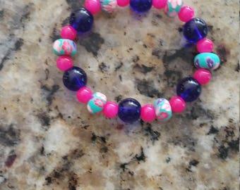 Child's Pottery and Crystal stretch bracelet