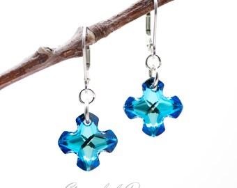 Swarovski Greek Cross Earrings in Bermuda Blue