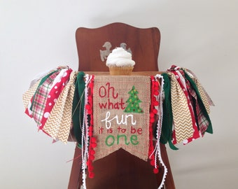 Christmas High Chair Banner/Oh What Fun It Is To Be One/Very Merry First Birthday Party Decor/Winter ONEderland/Cake Smash Photo Shoot Prop