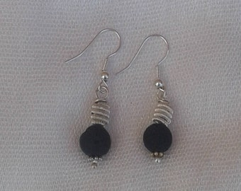 volcanic earrings from santorini,silver plated with hooks sterling silver