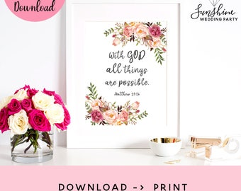 With God All Things Are Possible, Matthew 19:26, Bible Verse Artwork, Christian Wall Art, Religious Wall Art, Religious Art, Scripture Quote