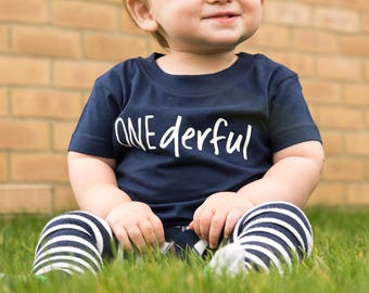 Onederful T-Shirt - First Birthday T-Shirt - One T-Shirt - First Birthday Outfit - One-derful Top - Boy's Girl's First Birthday T-shirt