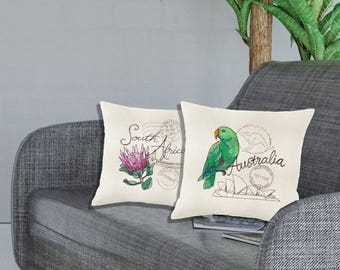 Custom embroidery Cushion cover. Travel pillowcase. Home decor. Home decor. Throw Pillow cover Travel