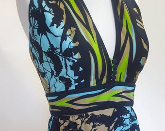 Vintage 1970s Pastoral print maxi halter dress