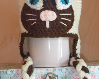 Handmade Crochet Hat With Earflaps - Cat / 3-6 Months