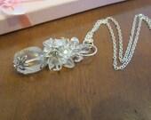 Boho Crystal Necklace April Birthstone Rock Crystal Cluster Necklace Boho Wedding Necklace Cluster Pendant Clear Quartz Crystal Necklace