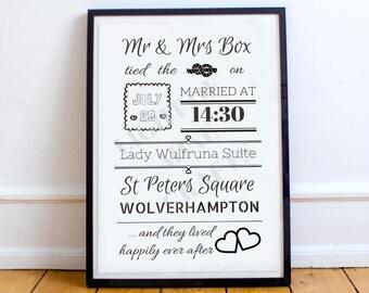 A3 Personalised Wedding Print
